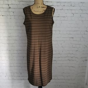 (relativity) Brown & Black Striped Casual Dress